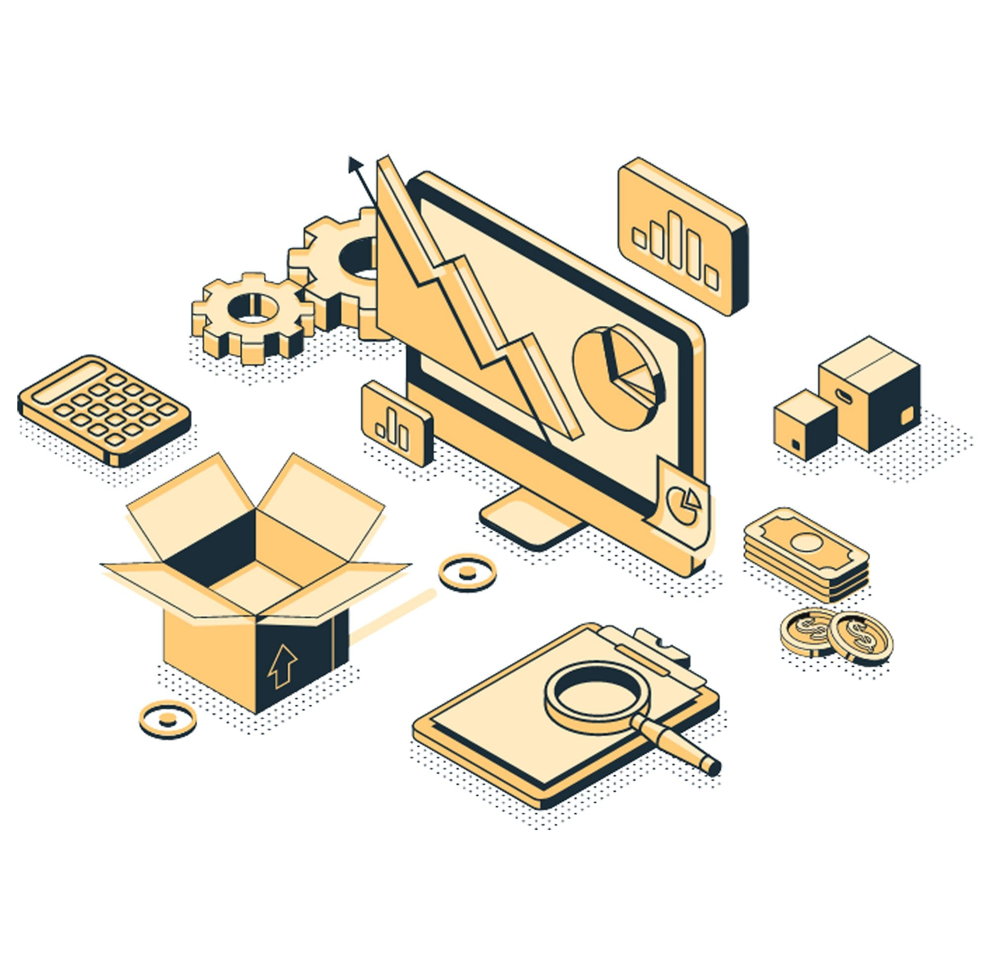 Isometric Vector Website Illustrations, Graphic Design