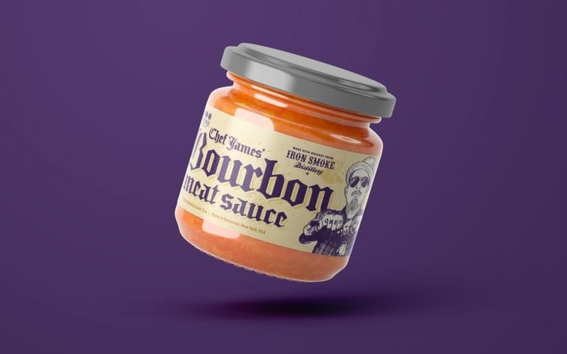 packaging design for a sauce label