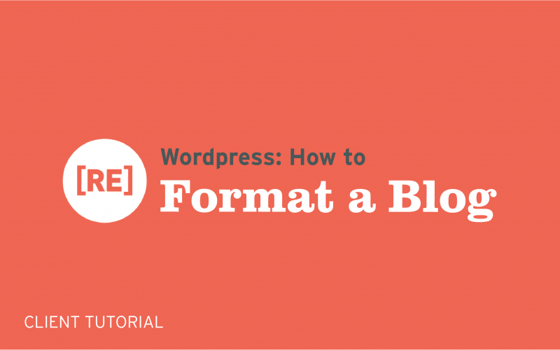 how to format a wordpress blog